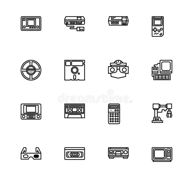 Tecnologia retro e gadets Ajuste o formato do vetor do EPS 10 do ícone do esboço Ícones pretos do pixel profissional, brancos per ilustração do vetor