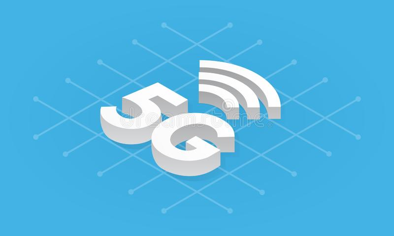 tecnologia sem fios da rede 5G isométrica Internet da quinta geração, uma comunicação, conceito rápido da conexão ilustração do vetor