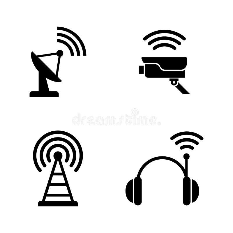 Tecnologia sem fios de rádio Ícones relacionados simples do vetor ilustração do vetor
