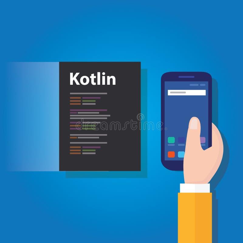 Tecnologia software di codifica di linguaggio di programmazione di applicazione mobile di Kotlin royalty illustrazione gratis