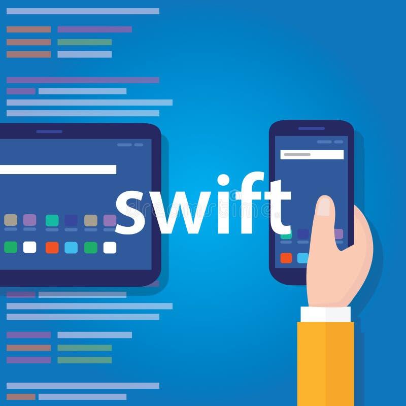 Tecnologia software di codifica di linguaggio di programmazione di applicazione mobile rapida royalty illustrazione gratis