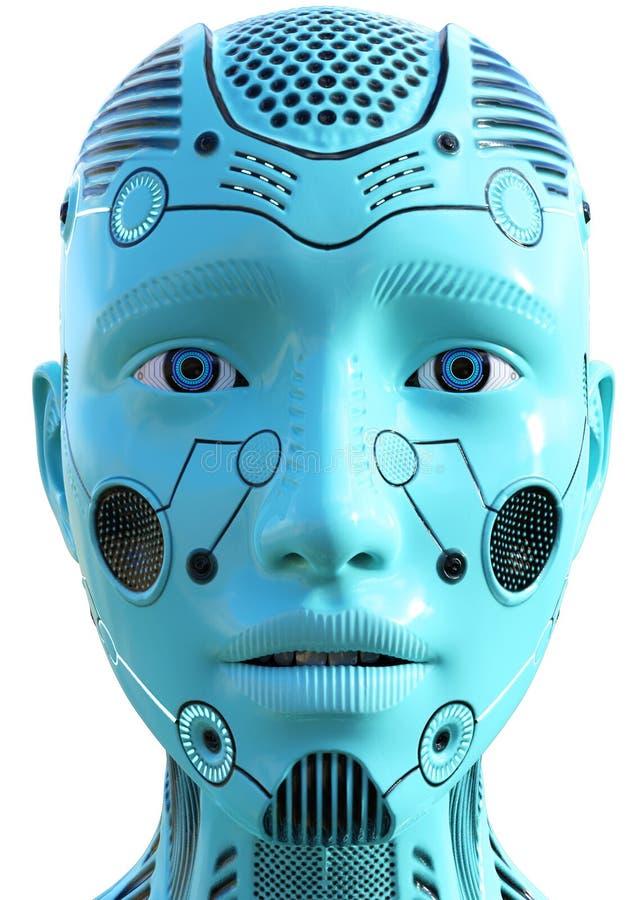 Tecnologia, testa del robot della donna, isolato, blu illustrazione di stock