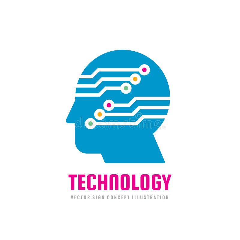 Tecnologia - testa umana e rete elettronica - illustrazione di concetto di logo di vettore Segno digitale del chip del computer D illustrazione vettoriale