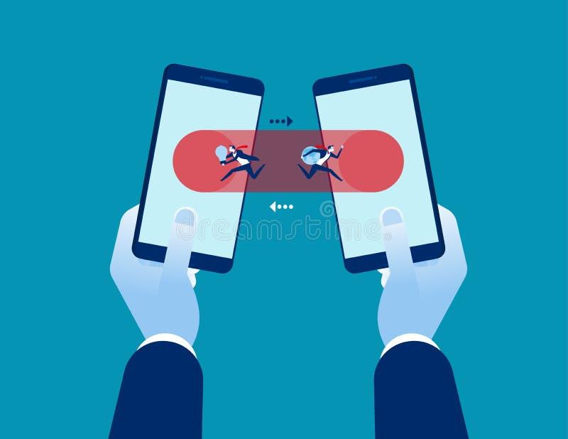 tecnologia Transferência e conexão de dados no smartphone Ilustração do vetor da tecnologia do negócio do conceito ilustração stock