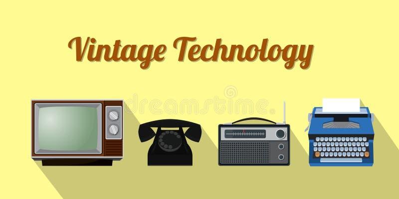 Tecnologia velha do vintage com o rádio do telefone da televisão e o gráfico de vetor da máquina de datilografia ilustração royalty free