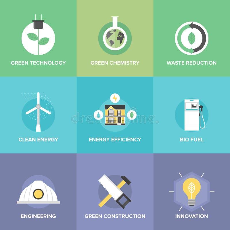 Tecnologia verde ed icone piane delle innovazioni messe illustrazione vettoriale
