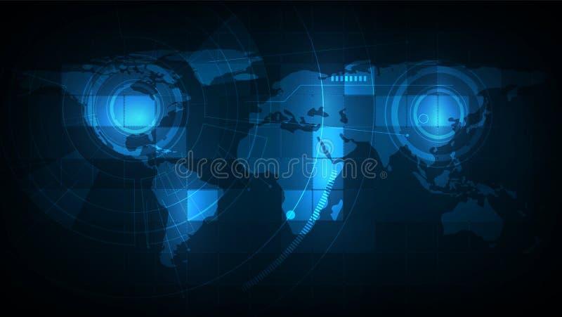 Tecnologias abstratas da conexão com o mapa do mundo para o negócio Meios mistos Ilustra??o do vetor ilustração royalty free