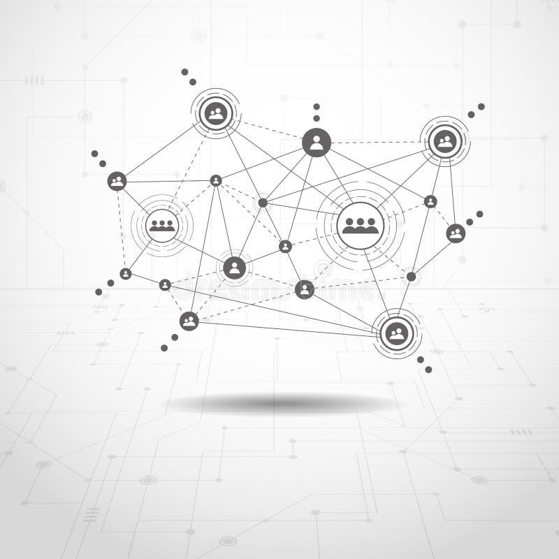 Tecnologias da conexão para o negócio Meios mistos ilustração do vetor