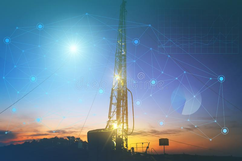 Tecnologias do futuro da produção de petróleo, o uso da inteligência artificial reduzir o custo da produtividade boa do trabalho  ilustração royalty free