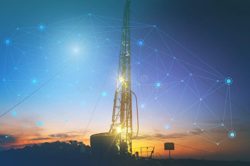 Tecnologias do futuro da produção de petróleo, o uso da inteligência artificial reduzir o custo da produtividade boa do trabalho  ilustração stock