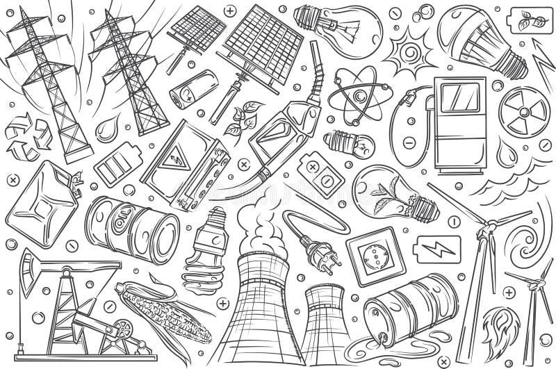 Tecnologias e inovações modernas tiradas mão ilustração stock