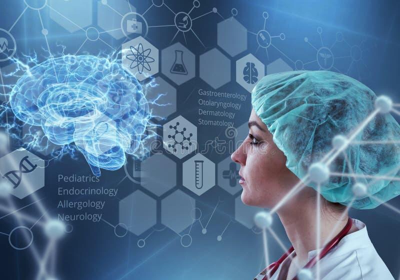 Tecnologias inovativas na ciência e na medicina elementos da ilustração 3D na colagem imagens de stock
