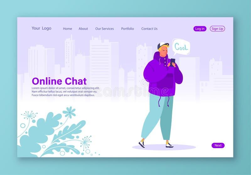 Tecnologias inteligentes na vida humana Jovens com smartphone chatting e SMS usando serviços de Internet e gadget ilustração stock
