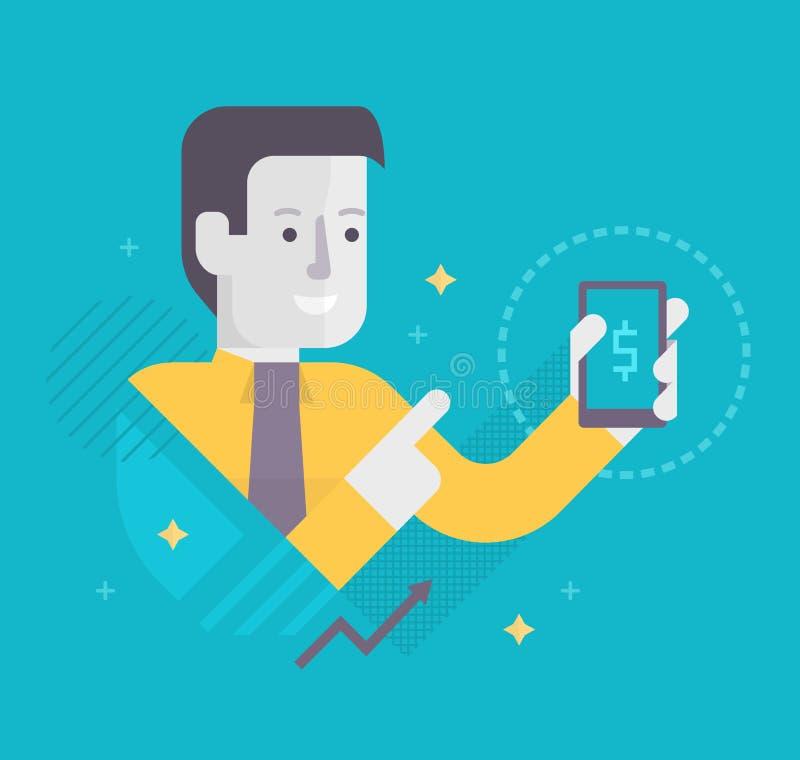 Tecnologias móveis no negócio ilustração royalty free