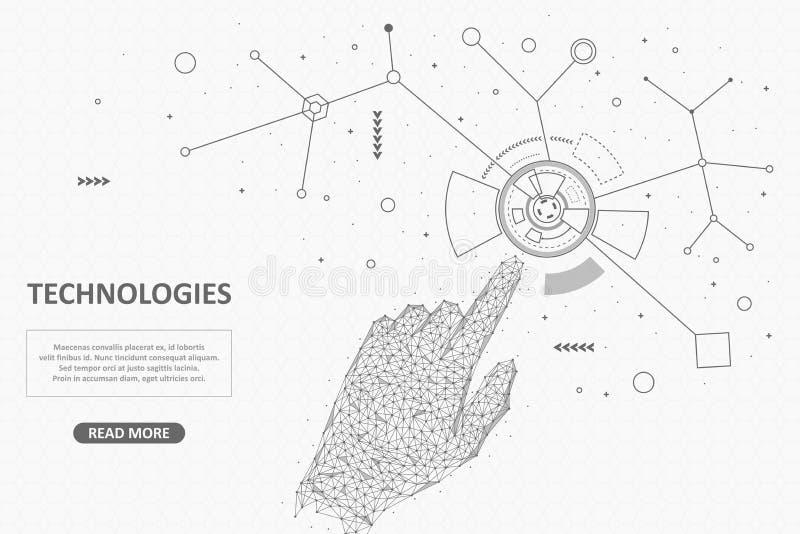 Tecnologias modernas que conectam o dispositivo dos povos e dos computadores baixo poli ilustração stock