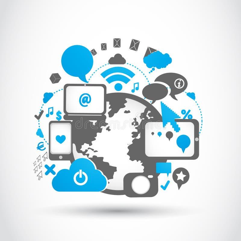 Tecnologias sociais da conexão dos media ilustração royalty free