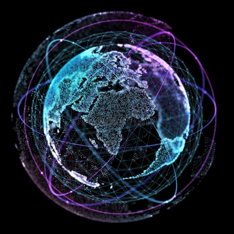 Tecnologie di Internet della rete globale Mappa di mondo di Digital illustrazione 3D royalty illustrazione gratis