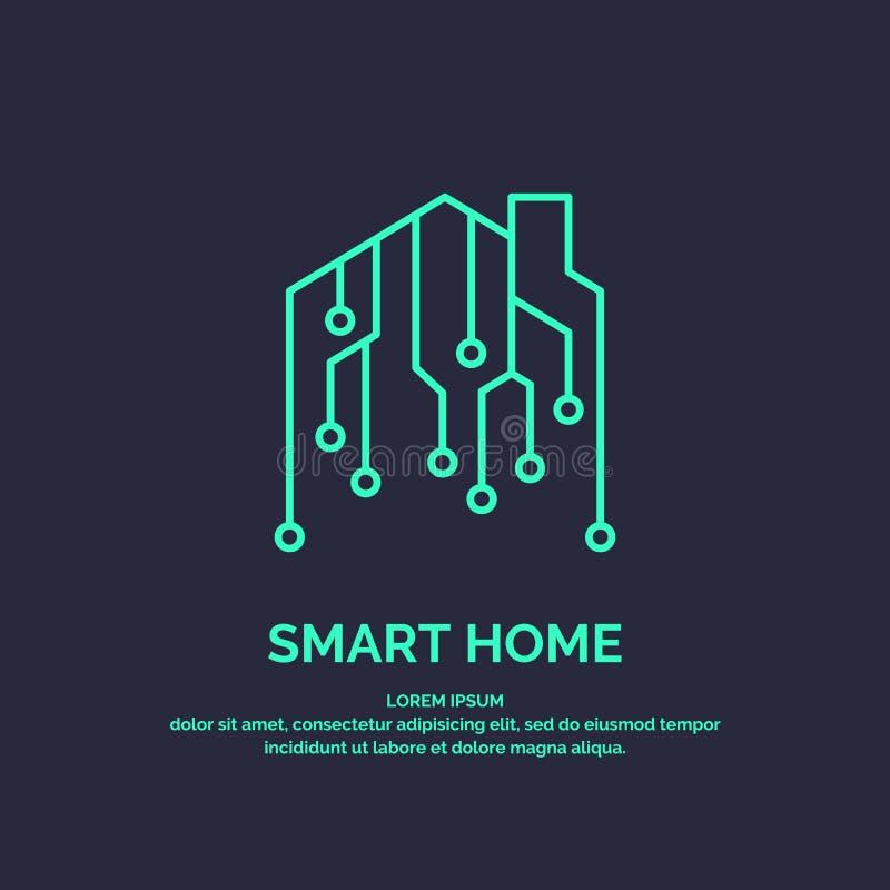 Tecnologie digitali domestiche astute dell'emblema e dell'icona illustrazione di stock