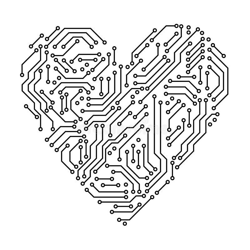 Tecnologie informatiche in bianco e nero di forma del cuore del circuito stampato, vettore illustrazione di stock