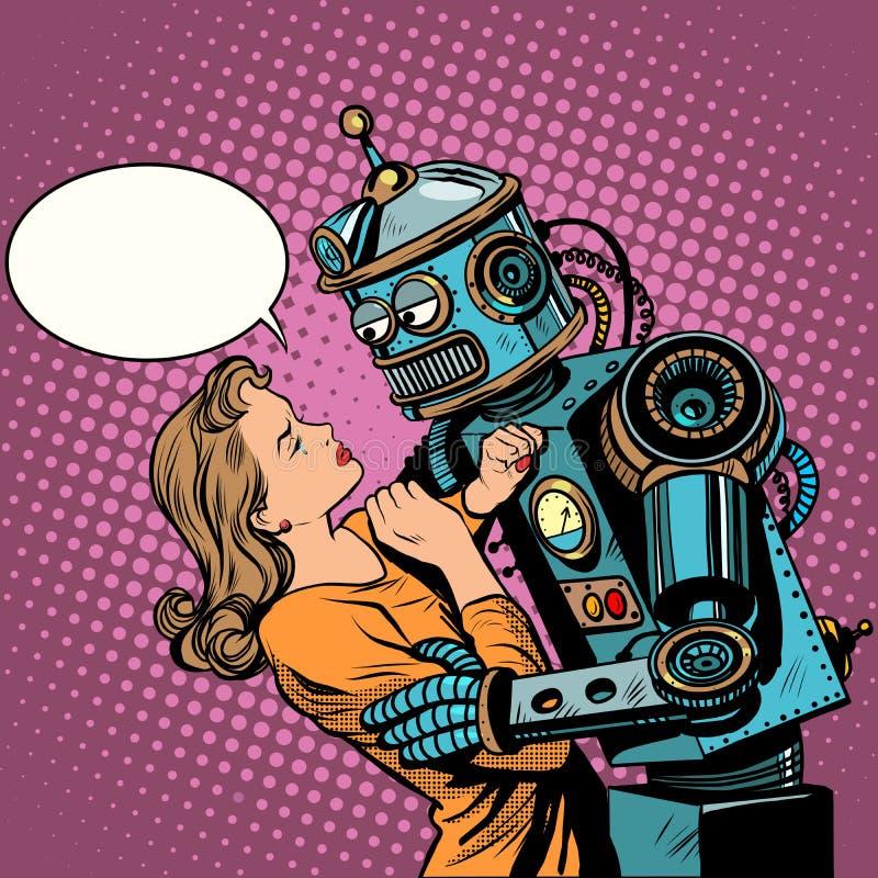 Tecnologie informatiche di amore della donna del robot royalty illustrazione gratis