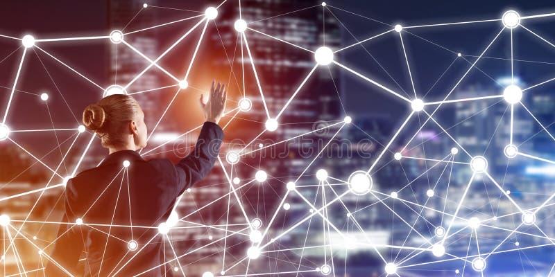 Tecnologie wireless e rete moderne come strumento per l'efficace affare illustrazione di stock