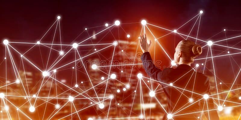 Tecnologie wireless e rete moderne come strumento per l'efficace affare illustrazione vettoriale
