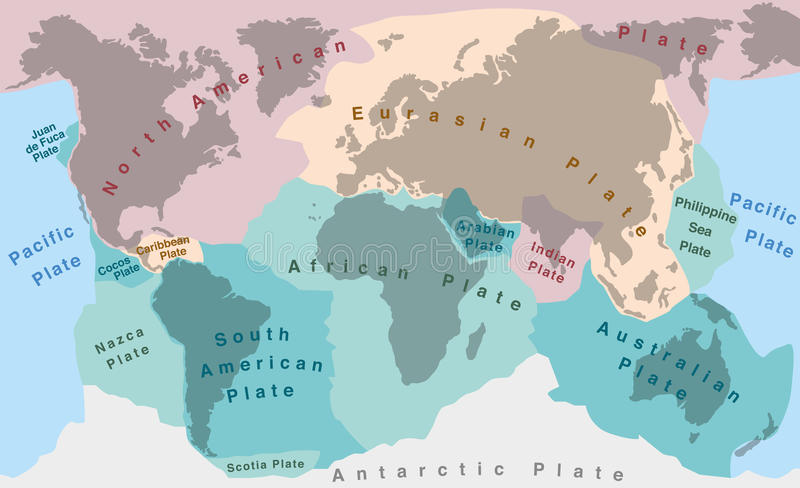 Tectonic Plates. Of planet earth - map with names of major an minor plates royalty free illustration