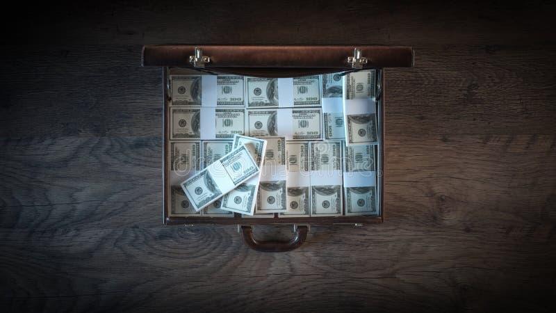 Teczka wypełniająca z dolarowymi paczkami fotografia stock