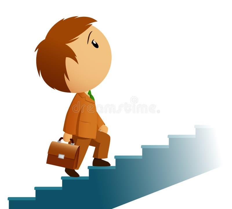 teczki biznesmena wspinaczki samiec schodki ilustracja wektor