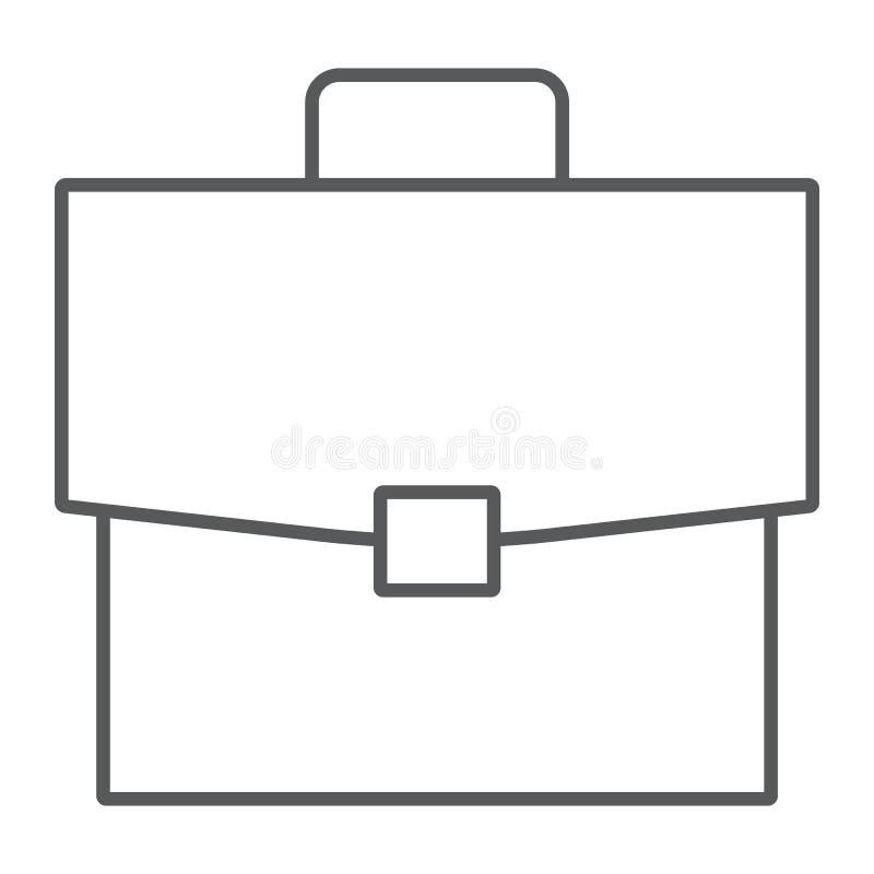 Teczki cienka kreskowa ikona, biuro i praca, ilustracja wektor