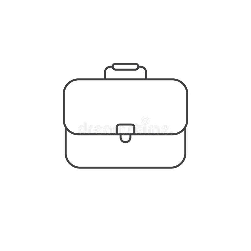 Teczki cienka kreskowa ikona, biznesowego skrzynka konturu loga wektorowy illu ilustracja wektor