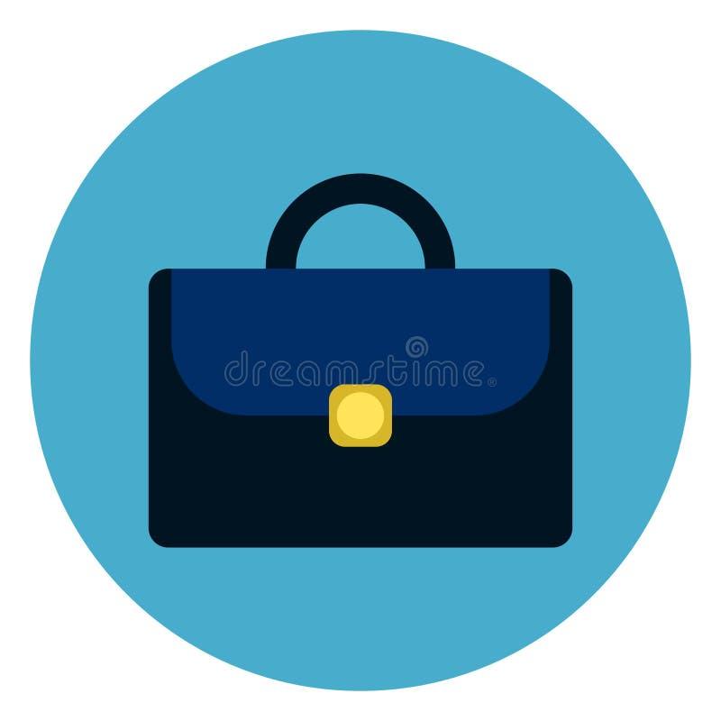 Teczki Lub walizki ikony Round Błękitny tło ilustracja wektor