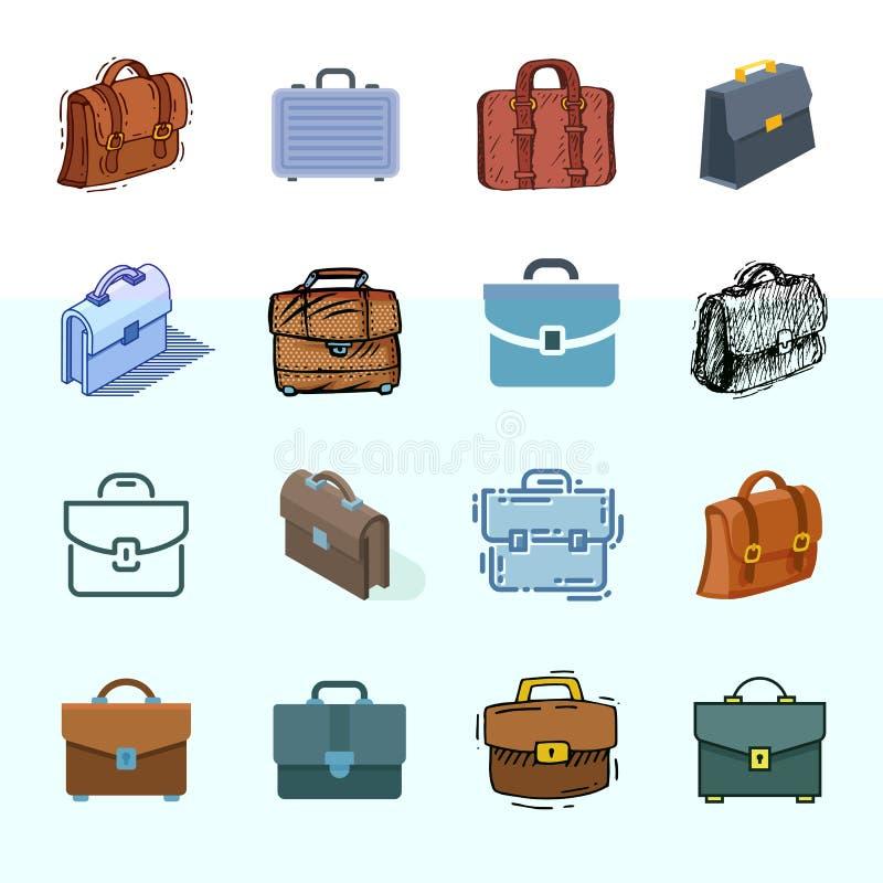 Teczki walizki wektorowa biznesowa torba i bagażu akcesorium dla setu pracy lub biuro ilustraci zdobyliśmy skrzynkę odizolowywają royalty ilustracja
