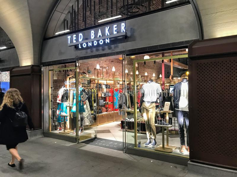 TED BAKER LONDON store. Ted Baker plc is a British premium clothing retail company. It is listed on the London Stock Exchange and is a constituent of the FTSE stock photography