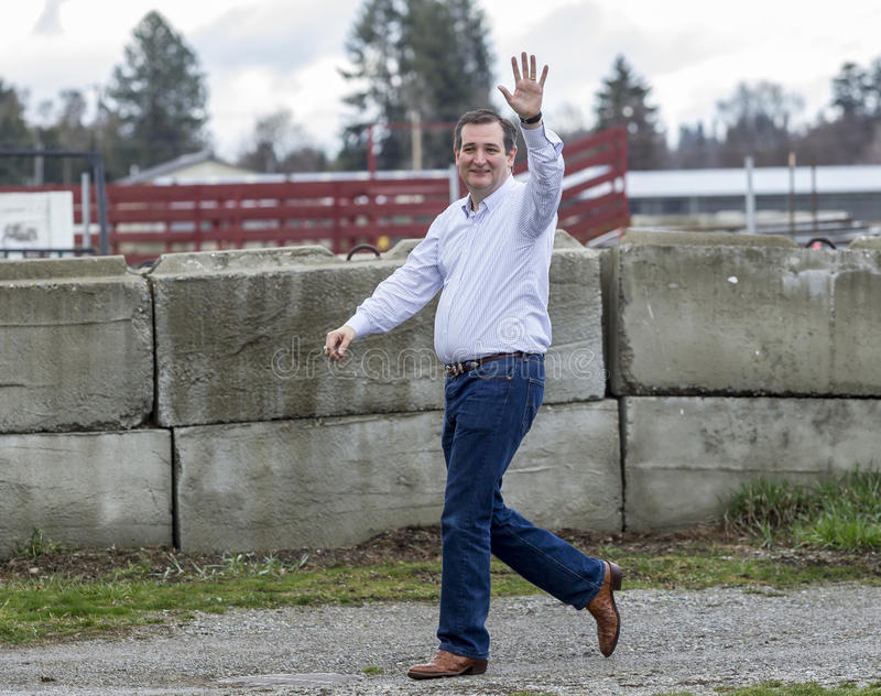 Ted Cruz walking and waving. stock images