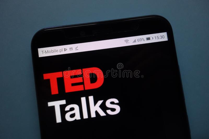 TED Talks logo displayed on smartphone royalty free stock images