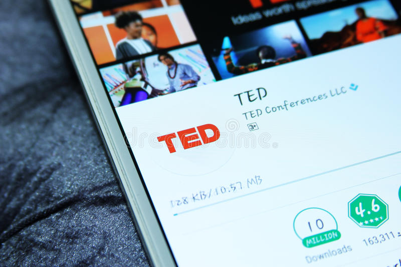 TED Talks mobile app. Downloading TED Talks mobile application from google play store on samsung tablet. TED Talks shares the best ideas from the TED Conference stock photography