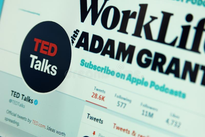 TED talks twitter. Official account of TED talks on social media network twitter. TED Conferences is a media organization that posts talks online for free royalty free stock photography