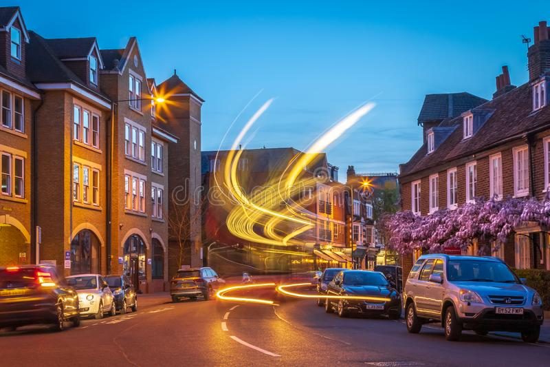 A Street View with Light Traces - Teddington South West London, UK. A Street View with Light Traces in Teddington, London royalty free stock photo