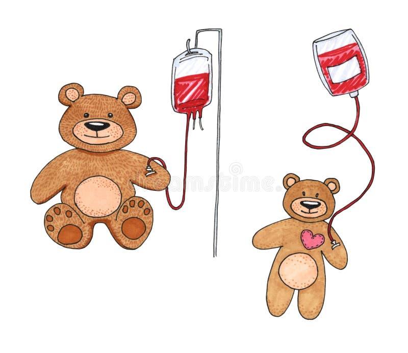 Teddy Bear överförde blod med en droppglass som isolerades på vitt, Teddy Bear som leksaken är sjuk, barnblodtransfusionbegrepp vektor illustrationer