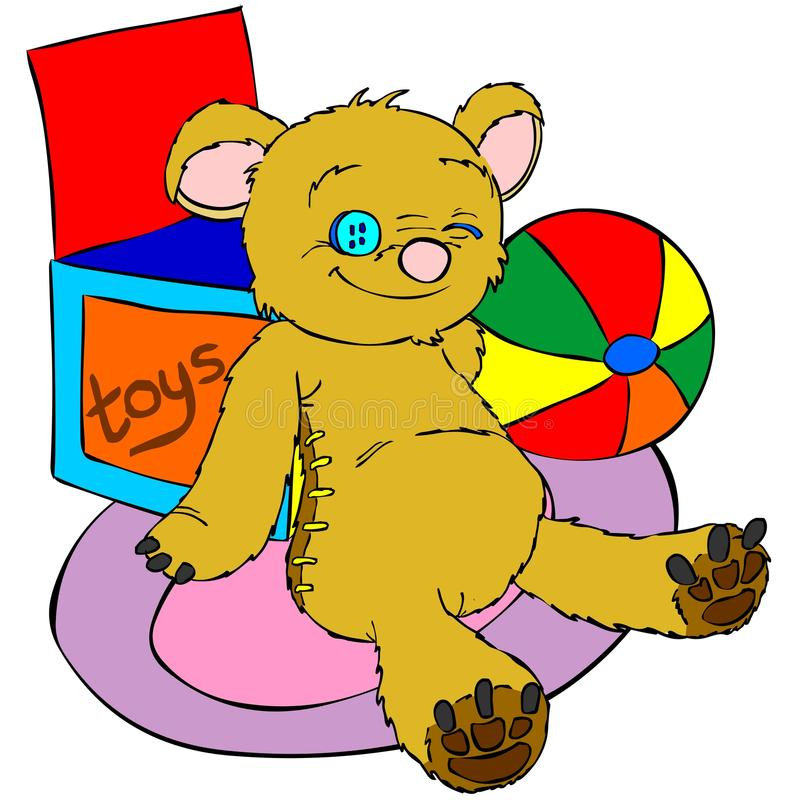 Teddy bear. Funny illustration of a lovely teddy bear. A box of toys and a coloured strips ball are lying on the background. Perfect for children pics vector illustration