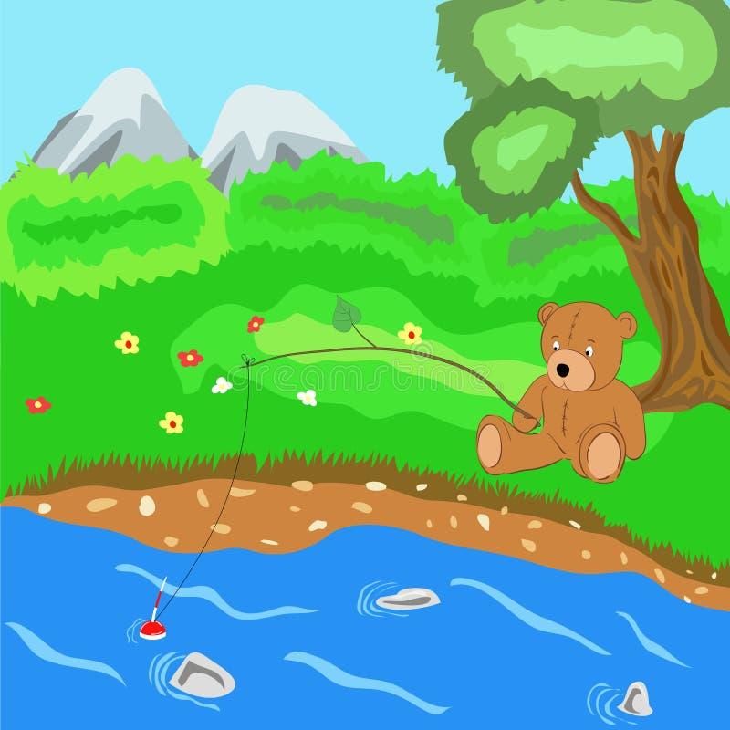 Teddy bear. The teddy bear catches fish, vector illustration stock illustration