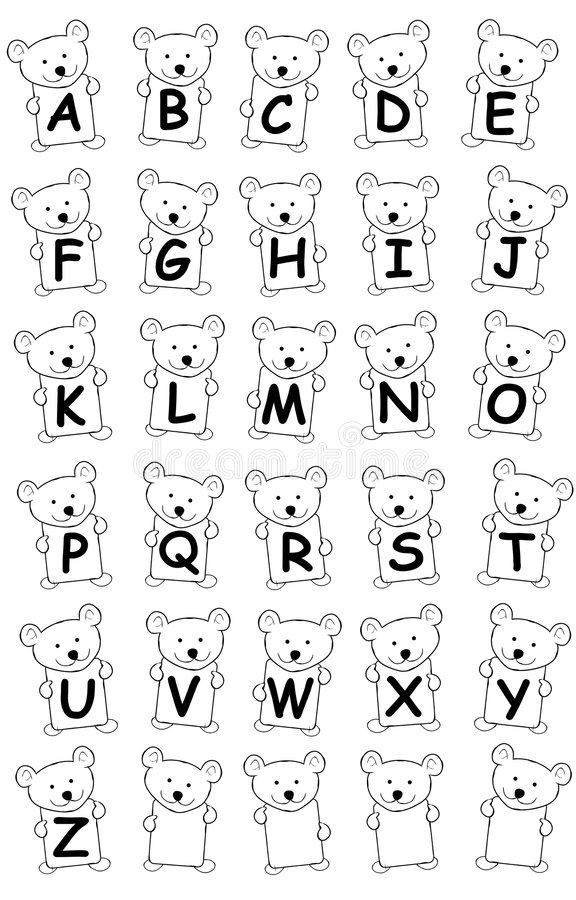 Teddy Bear Alphabet. An illustation featuring cute teddy bears holding cards - each letter of the alphabet with a few blank ones for custom items stock illustration