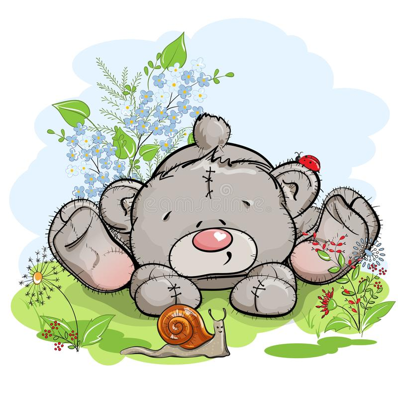 Free Teddy Bear And Snail In The Meadow Stock Photo - 123217840