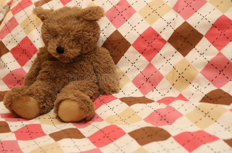 Teddy Bear auf rosa Decke lizenzfreie stockfotografie