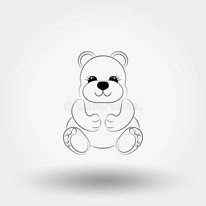 Teddy Bear Baby icona Vettore Linea di arte royalty illustrazione gratis
