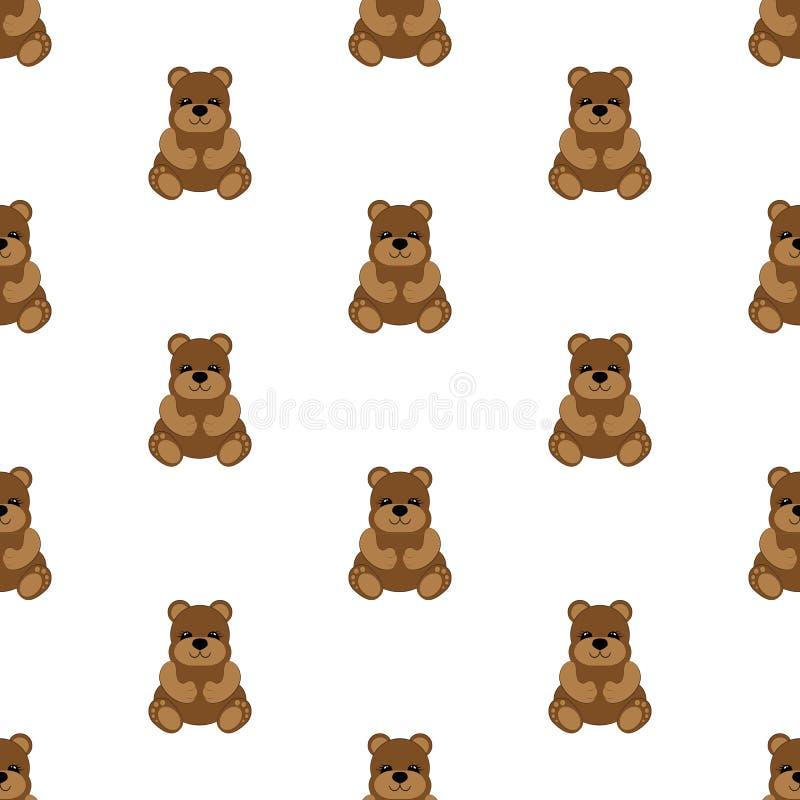 Teddy Bear Baby Illustrazione senza giunte di vettore piano illustrazione di stock