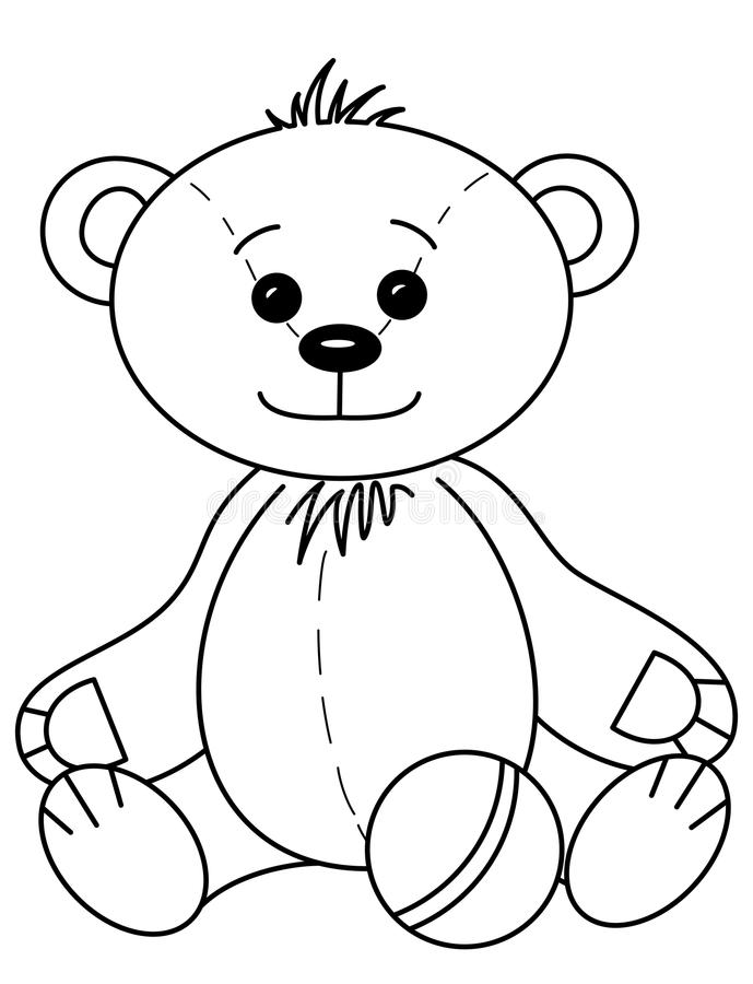 Teddy bear with ball, contours stock illustration
