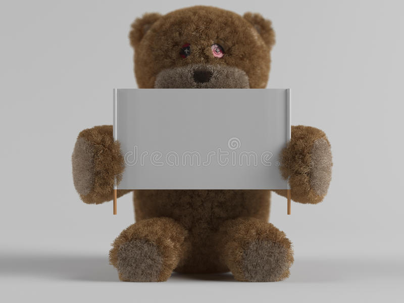 Teddy bear and banner royalty free stock images