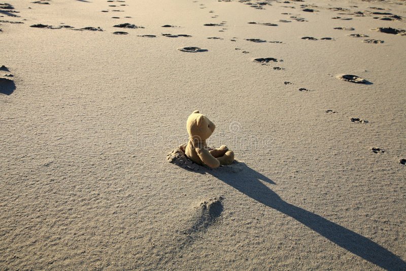 Teddy bear on the beach. Teddy bear lost on the beach. Left children's toy stock photo